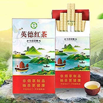 Healthy Herbal Cigarettes Green Tea Black Tea Chinese Tea Cigarettes Menthol Mint Nicotine & Tobacco Free 100% Smokeless Cigarette Substitutes That Can Clean The Lungs  1pack,Black Tea
