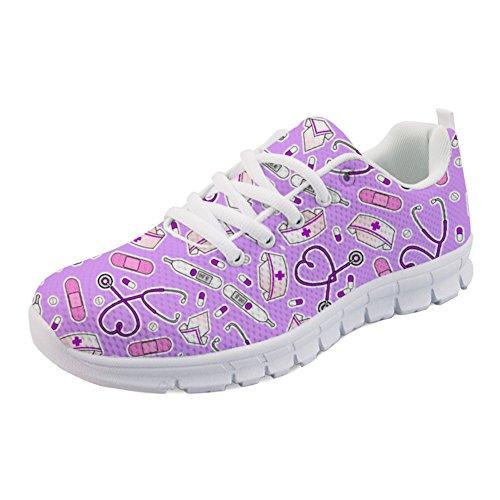 Binienty Zapatos de correr ligeros para hombres y mujeres, zapatillas atléticas con cordones para correr, caminar y entrenar, Diseño 8, 40 EU