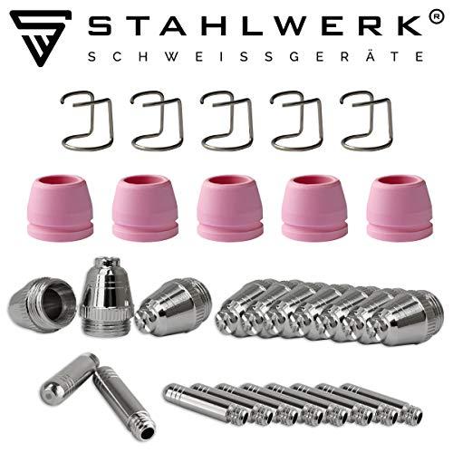 STAHLWERK P-60 Plasmazubehör Verschleißteile Plasmadüsen + Elektroden + Keramikkappen für P-60 CUT Pilotzündung Plasmaschneider-Brenner, Set 30-teilig
