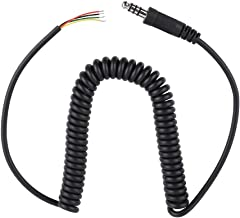60 cm/ 1.96 ft Helicopter Headset Cable for General Aviation Headset DIY Replacement Cable ABS Replacement Cable Coiled Cord for U-174/U Military Connector, Black