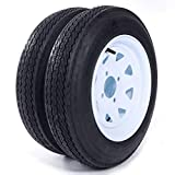 Motorhot Two 4.80 x 12 Trailer Tire & Rim 4.80-12 480-12 Load B 4 Lug Wheel White Spoke Pack of 2