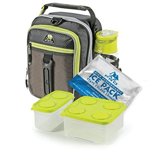 Arctic Zone High-Performance Dual-Compartment Lunch Box Set, Black/Lime