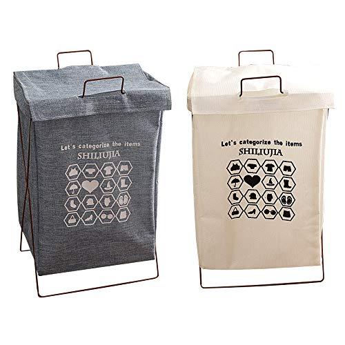 2 cestas plegables para la ropa sucia, con tapa, plegable, lona de tela, para baño, dormitorio y lavandería, resistente al agua de algodón y lino (blanco y azul)