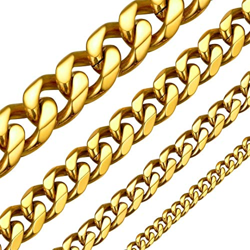 ChainsHouse 50cm Cadena Acero bañada Oro Hombre Collares Anchos Eslabones Cubanos 9mm