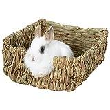 starter Lit Naturel et nid d'herbe, lit d'animal tissé d'herbe et Jouets pour des cobayes Chinchillas et Lapins