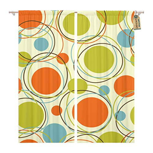 Golee Window Curtain Colorful Pattern Retro Abstract 1950S Mid Century 1960S Modern Home Decor Pocket Drapes 2 Panels Curtain 104 x 84 inches