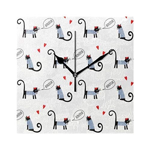 FANTAZIO Quadratischer Wecker für Kinder, französischer Stil, Katzen, Spruch Bonjour Muster, Ständer/Hänge Uhr, batteriebetrieben