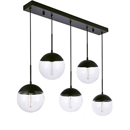 Kitchen Pendant Light With Sphere 5 Light A1a9 Modern Industrial Glass Ball Globe Ceiling Lights Fitting E26 Led Chandelier Lamp Fixture For Kitchen Island Bar Dining Room Counter Cafe Black