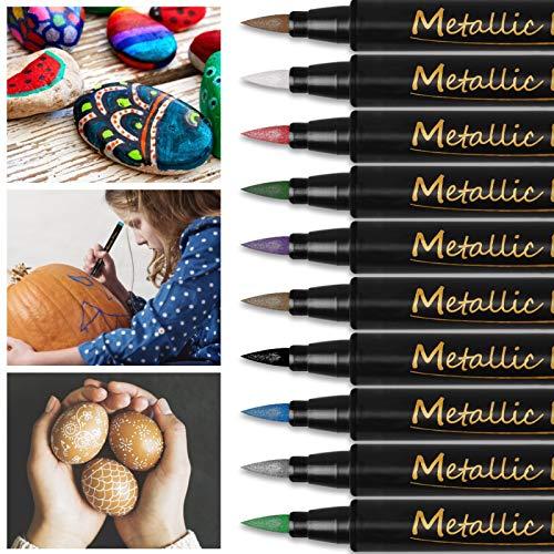 Rotuladores Metalicos de 10 Colores Pintura rupestre Rotuladores Metálicos, Rotuladores Purpurina para Scrapbooking, Tarjetas de Felicitación, Huevos de Pascua, Piedras de Pascua