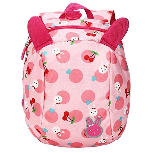 JameStyle26 Bunny Rabbit Baby Kinderrucksack mit Brustgurt und Leine Kindergarten Kirsche Tupfen Kaninchen Tornister Häschen Rucksack Schultasche Backpack Tasche Mädchen Junge Hase (Rosa)