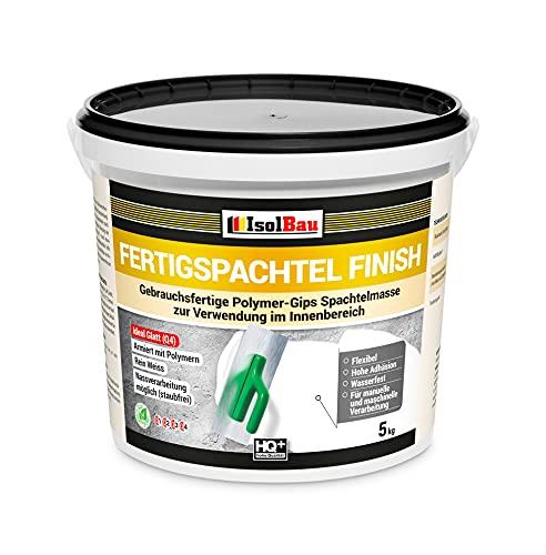 Isolbau Fertigspachtel Finish Q1-Q4 - Gebrauchsfertige Polymer-Gips Fertig-Spachtelmasse für innen - 5 kg Eimer, Weiß