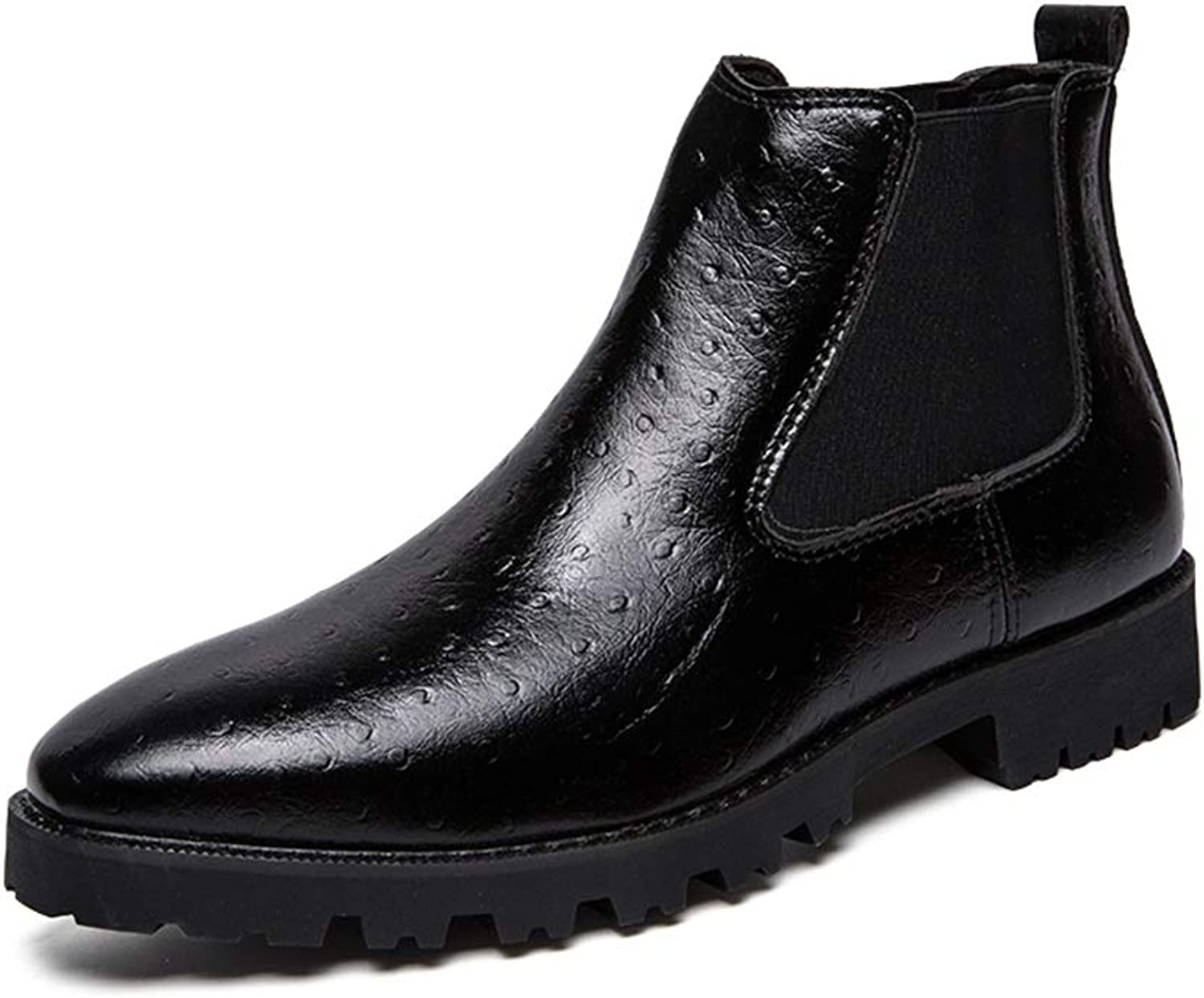 Men's Fashion Ankle Work Boot Casual Comfortable Cover with Embossed Feet High Top Boot