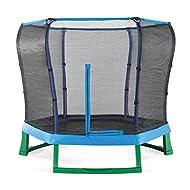 Plum 7ft Junior Jumper Springsafe Children's Trampoline and Enclosure - Blue & Green