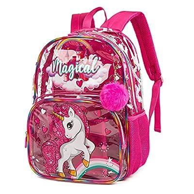 Mochila para niños Mochila Escolar Mochila de Viaje Impermeable Transparente para niñas Unicornio Rosa