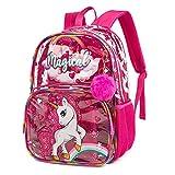 Mochila para niños Mochila Escolar Mochila de Viaje Impermeable Transparente para niñas Unicornio...