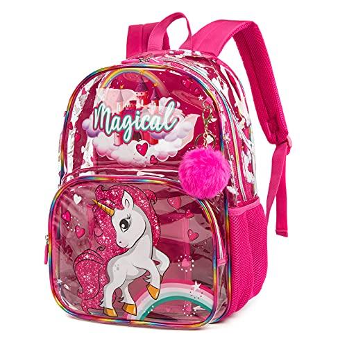 Mochila para niños Escolar de Viaje Impermeable Transparente para niñas Unicornio Rosa