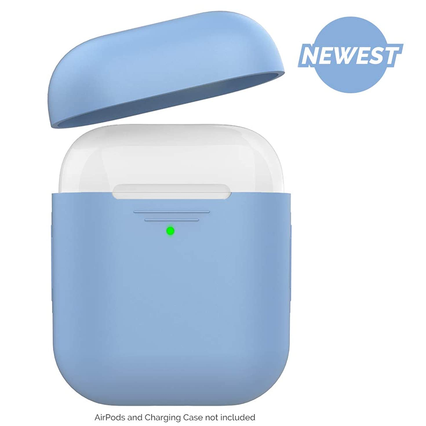 AhaStyle Newest AirPods Case [Front LED Visible] Silicone Compatible with Apple AirPods 2 & 1(Without Carabiner, Sky Blue)