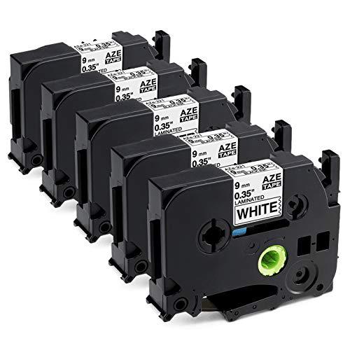 Anycolor kompatible Schriftband Ersatz für Brother TZe 9mm TZe-221, P-touch 0.35\'\' Etikettenband, Laminierte TZ-221 TZ221 schwarz auf weiß für H105 1010 H100R E110 D200 1000 D400 1005, 5er-Pack