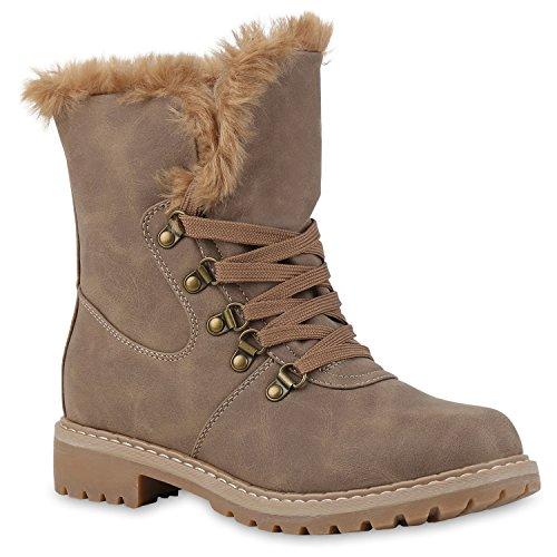 Damen Stiefeletten Worker Boots Schnürstiefel Warm Gefüttert Schuhe 124725 Khaki Khaki Agueda 38 Flandell