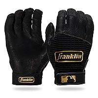 Franklin Sports MLB Pro Classic Baseball Batting Gloves Pair - Black/Gold - Adult Large