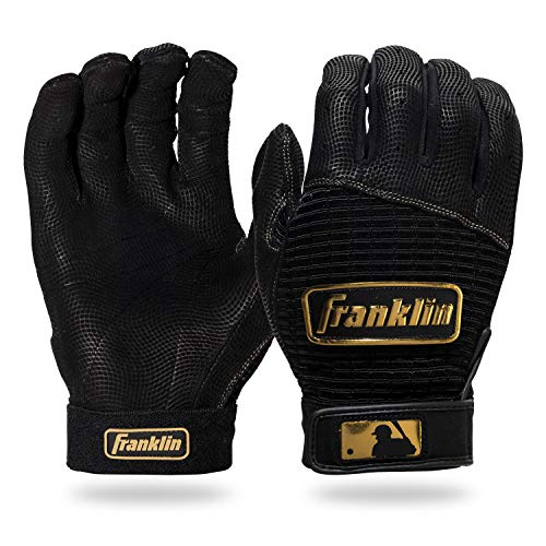 Franklin Sports MLB Pro Classic Baseball Batting Gloves Pair - Black/Gold - Adult Medium