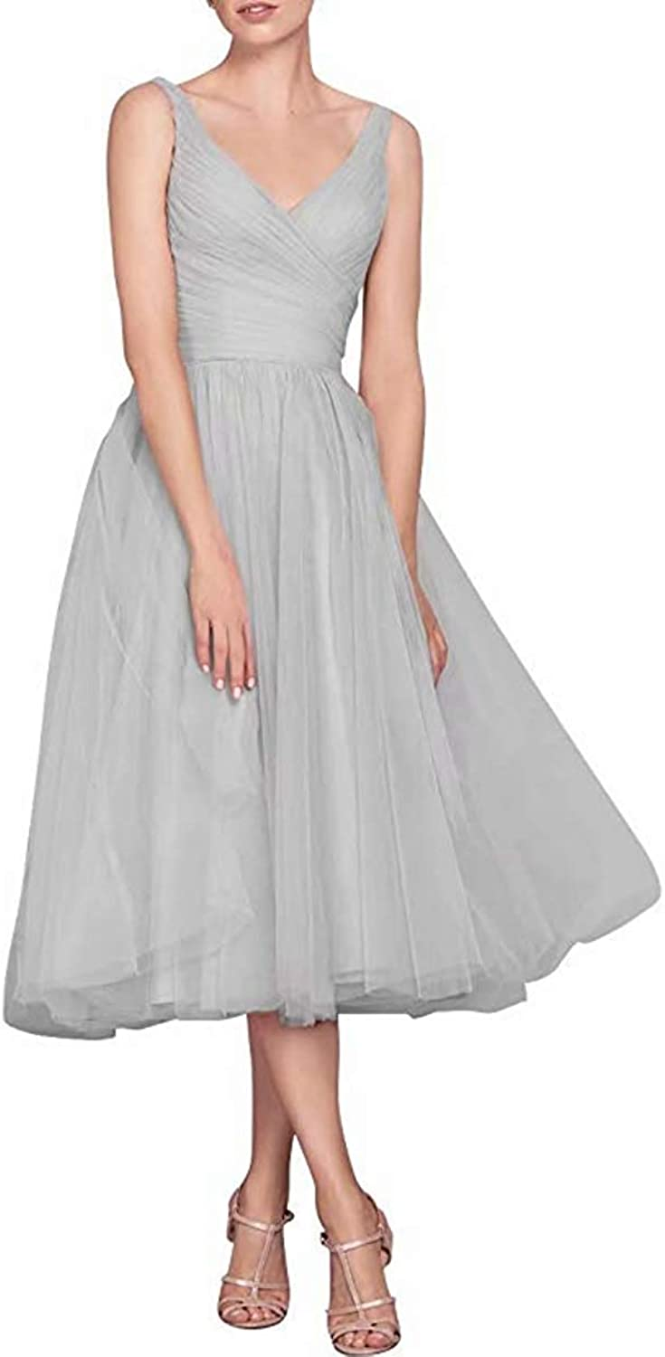 CLOTHSURE Double V Neck Bridesmaid Dresses Tea Length Pleated Tulle Prom Evening Gowns to Wedding