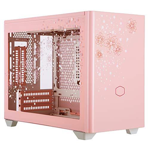 CoolerMasterMasterBoxNR200P Sakura Caja Ordenador Mini ITX Edición Limitada:Panel Lateral Cristal Templado,OpcionesEnfriamiento, Exposición GPU Vertical, Accesibilidad 360ºSin Herramienta Rosa