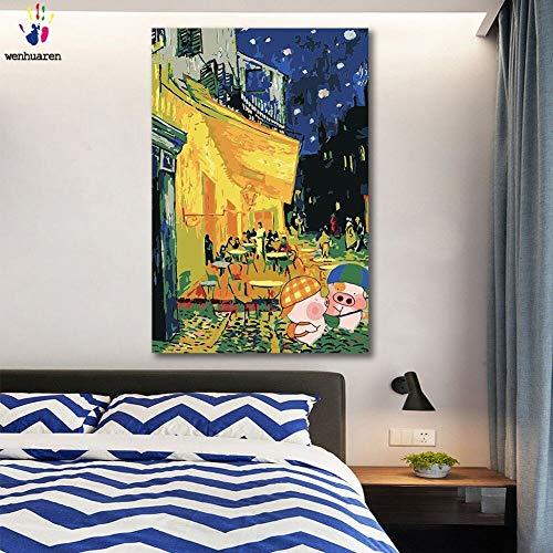 yaonuli DIY Pintar por númerosImagen de Impresión de Cerdo Night Coffee Shop 40x50cm Sin Marco