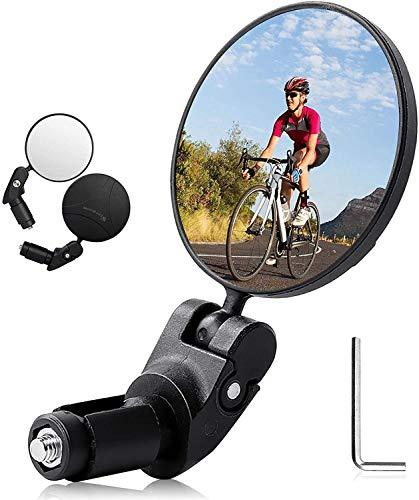 Espejo retrovisor para bicicleta, 1 paquete de extremo de barra Espejo para bicicleta Espejos retrovisores de gran angular para bicicleta Espejos para bicicleta con lente ajustable de 360 ° Espejo