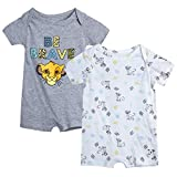 Disney Baby Boys' Mickey Mouse 2 Pack Short Sleeved Romper with Snap Closure (Newborn/Infant), Size 0-3 Months, Simba Be Brave