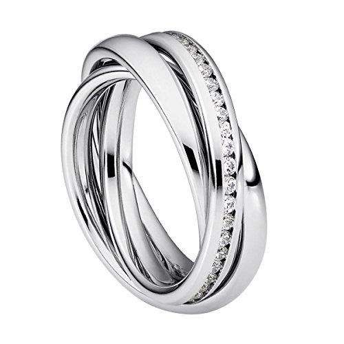 Heideman Ring Damen Trini aus Edelstahl Silber farbend poliert Damenring für Frauen Rollring Spielring Dreierring 52