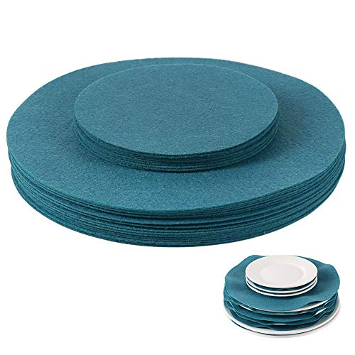 Felt Plate Separators, Cyan Felt Plate Divider, China Plate Separators for Protecting and Stacking Your Cookware, 30 Pieces & 2 Different Size