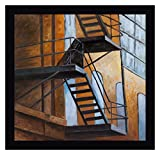Apartment Building Escape in NYC by Atelier B Art Studio 28' x 28' Black Framed Canvas Giclee Art Print - Ready to Hang