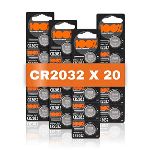 CR2032 Battery 3v lithium pack of 20 (CR 2032) by 100% PeakPower