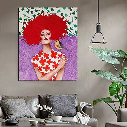 KWzEQ Nordisches Plakat Cooles Mädchen Tapetendruck Leinwandmalerei Wohnzimmer Hauptdekoration Ölgemälde Moderne Wandkunst,Rahmenlose Malerei,60x75cm