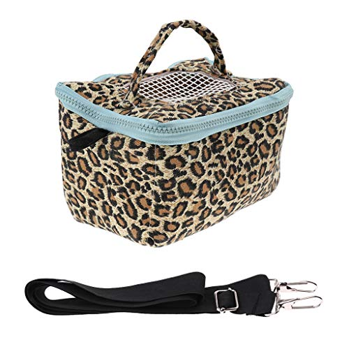 FLAMEER Pet Outgoing Travel Handbag Reisetasche Hamster Gerbil Small Animal Carrier Crate - Leopardenmuster L