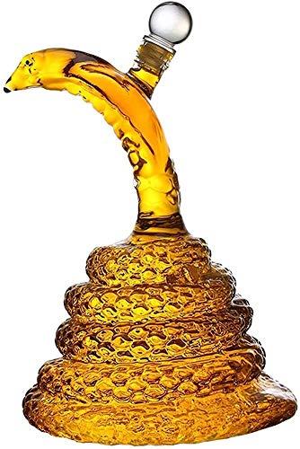 ZSWB Portátil Snake Whisky Decanter Barware, Reutilizable Animal Serpiente Forma Creativa Vidrio Botella Licor decantadores Uso Cotidiano o cenas Especiales con Amigos 3.15
