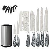 Cuchillos de cocina Set Sharp Santoku Cleaver Cortar Utility Chef Cuchillo con bolsa de soporte Set de cortador de acero inoxidable (Color : 7pcs with stand)