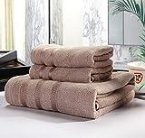 NOBRAND Juego de toallas de baño, toallas de baño de fibra de bambú, juegos de regalos, marrón claro, Towel 34*75 Bath towel 70*140