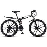 CENPEN Bicicleta de montaña para adultos de 26 pulgadas, suspensión completa de 21 velocidades, plegable, bicicleta de montaña, marcos de acero de alto carbono con doble amortiguador (color negro)