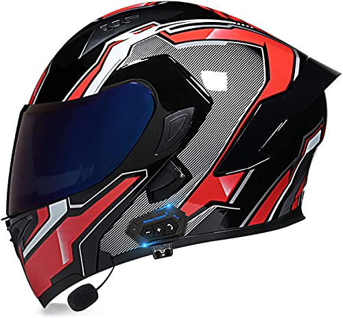 Egrus Casco Plegable de la Motocicleta integrada de la Motocicleta Casco Plegable de la Motocicleta con Anti-Niebla de Doble Cambio ECE Certificado L (Color : S, Size : M)
