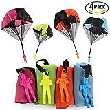 XUNKE Juguete de Paracaídas, Juguete Paracaídas Set, 4 × Mano Que Lanza el Juguete del Paracaidista, Muy Buenos Juguetes al Aire Libre para niños, ¡Dale más Felicidad a tu Hijo