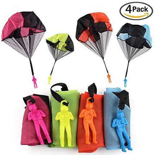 XUNKE Fallschirm Spielzeug, 4 × Kinder Hand werfen Fallschirm Spielzeug,Fallschirmspringer Werfen Outdoor Kinder Party Geschenk …