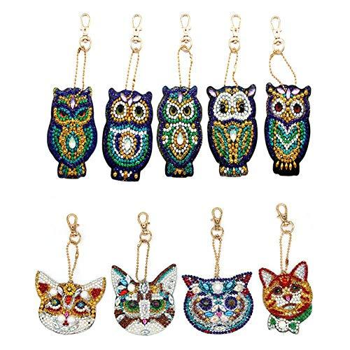 Jestang - Llavero de pintura de diamantes, diseño de mosaico, 9 unidades, para manualidades, diseño de búho y tigre