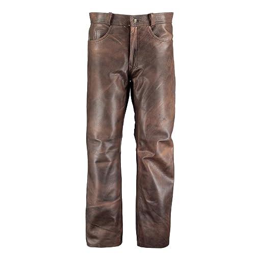 896f9148e8f5 Men s Classic Brown Leather Pants Trousers - Leather Look Trousers - Leather  Trousers Men