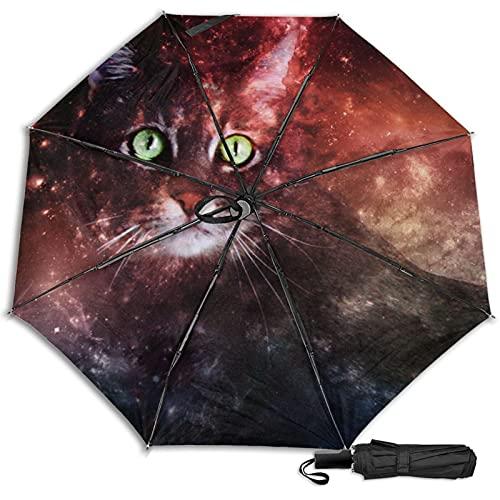 Pengfly Sombrilla de gato en el cielo estrellado cielo estrellado gato cielo estrellado paraguas plegable espacio sombra uso viento resistente a la corrosión para sombrilla