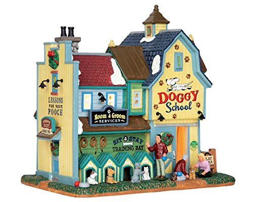 """Lemax 65109 Rex&Spot's Doggy School,Harvest Crossing Village Collection,Porcelain Colorful Miniature Lighted Building & Figurines, X'mas Decor/Gift/Collectible,On/Off Switch,7.72""""x7.91""""x5.51"""""""