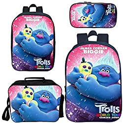 ❤[4 in 1 Schoolbags Sets]: Schoolbags + Mini backpack + Lunch box bag + Pencil case.made of durable polyester material, It is a lightweight backpack that make it comfortable to carry. ❤[Size&Weight]: Backpack size:Large size:42CM*29CM*16CM (length * ...