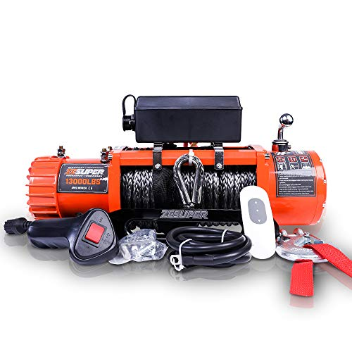 ZESUPER 12V 13000-lb Load Capacity Electric Winch Kit, Waterproof IP67 Electric Winch with Hawse Fairlead, with Both Wireless Handheld Remote and Corded Control(13000-Rope)