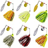 Fishing Spinner Baits Kit - Hard Spinner Lures Multicolor Buzzbait Swimbaits Pike Bass Jig 0.64oz (6pcs Spinner Baits)